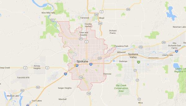 Garage door repair Spokane service map